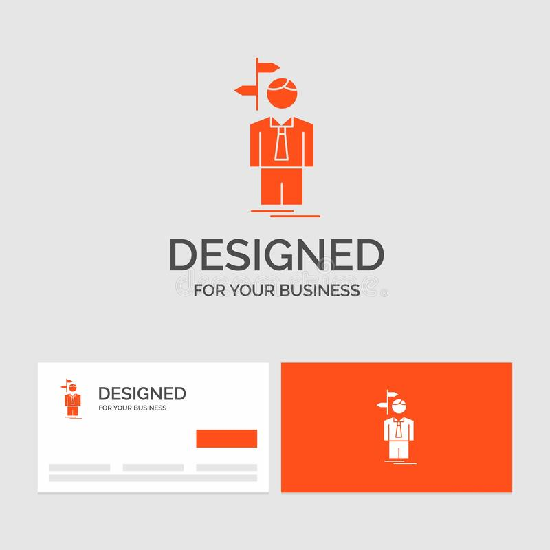 Le calibre de logo d'affaires pour la flèche, choix, choisissent, décision, direction Cartes de visite oranges avec le calibre de illustration stock