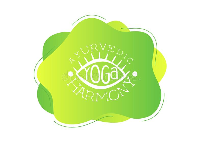 Le calibre de studio de yoga, harmonie d'Ayurvedic, élément de conception peut être employé pour le logo, carte de visite profess illustration stock