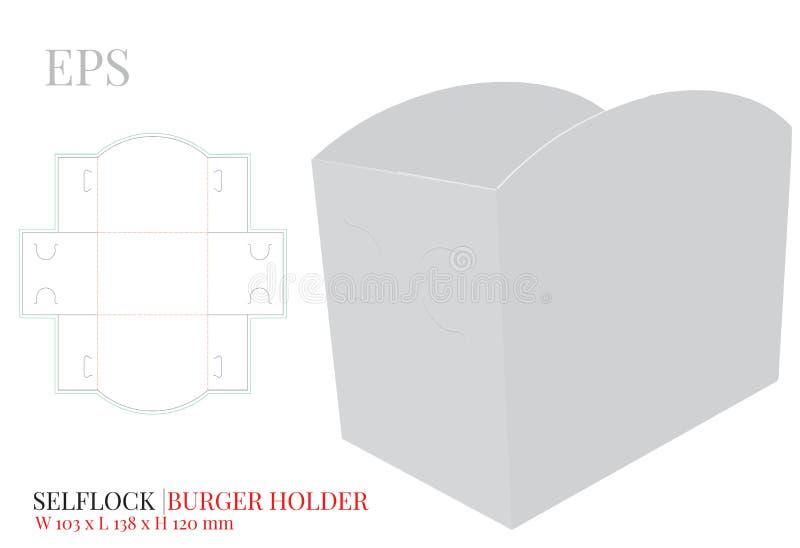 Le calibre de support d'hamburger, vecteur avec découpé/laser avec des matrices a coupé des couches Transporteur d'hamburger, boî illustration stock