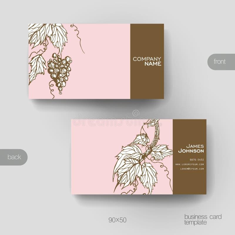 Le calibre de vecteur de carte de visite professionnelle de visite avec des raisins ornementent le fond illustration stock