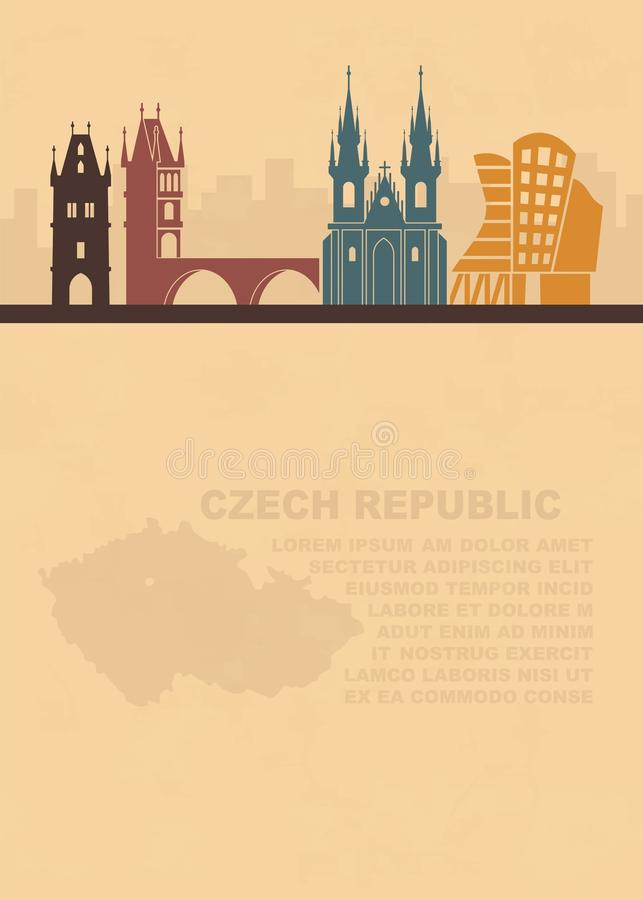Le calibre des tracts avec une carte de la République Tchèque et des attractions architecturales de Prague illustration stock