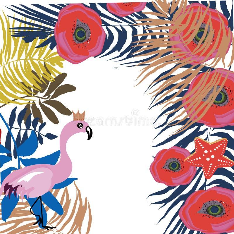 Le calibre exotique tropical de cadre de frontière avec le monstera vert clair de palmier de jungle part et les oiseaux roses de  illustration de vecteur