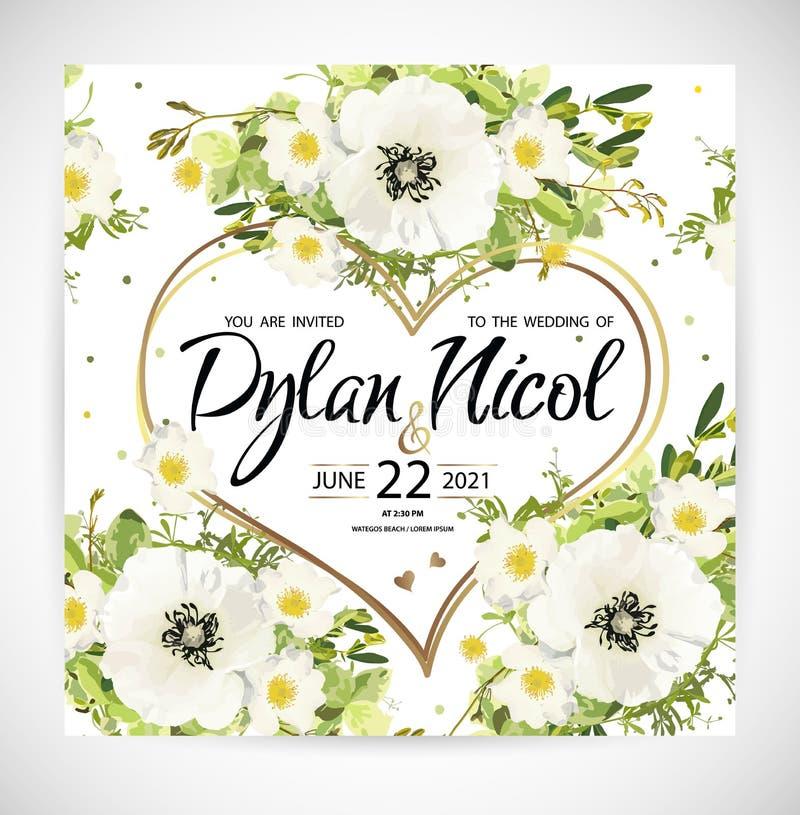 Le calibre floral de coeur de mariage invitent Illustration de vecteur illustration libre de droits