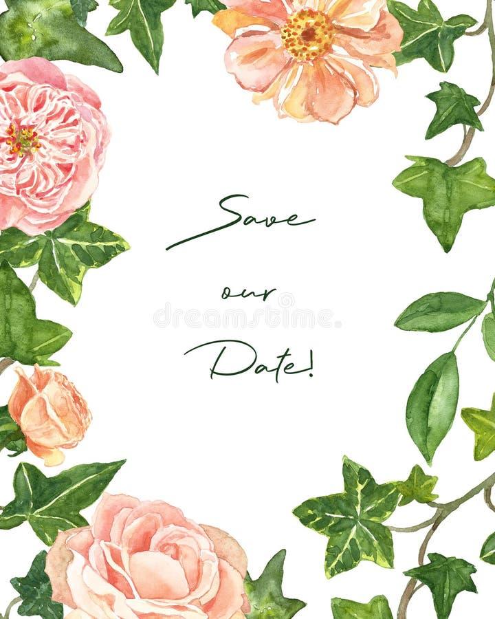 Le calibre floral moderne de cadre d'aquarelle pour épouser des invitations et les cartes avec rougissent les roses roses et les  illustration libre de droits