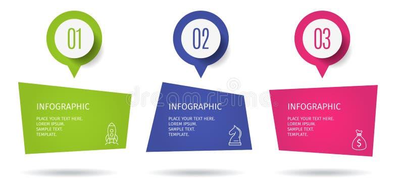 Le calibre infographic d'affaires d'étapes de la bannière 3 avec intensifient des options Calibre pour la présentation, diagramme illustration stock