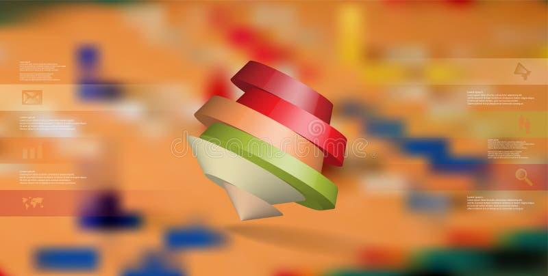 le calibre infographic de l'illustration 3D avec le pentagone rond a arrangé de biais illustration libre de droits