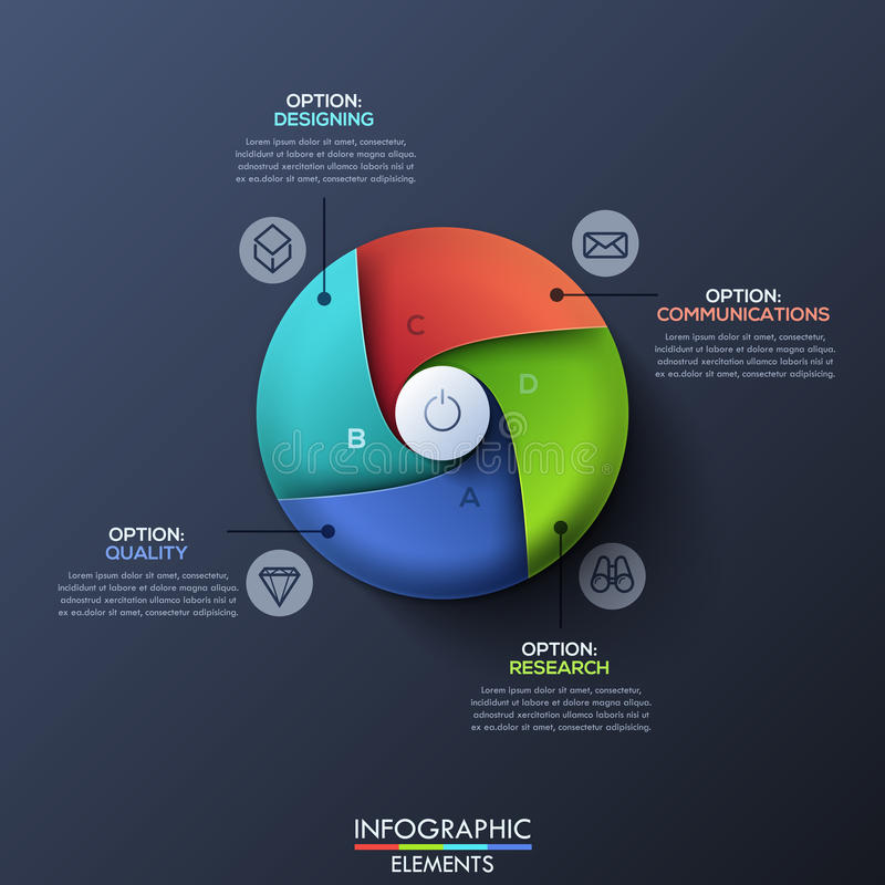 Le calibre infographic moderne de conception avec le cercle s'est divisé par 4 secteurs en spirale illustration stock