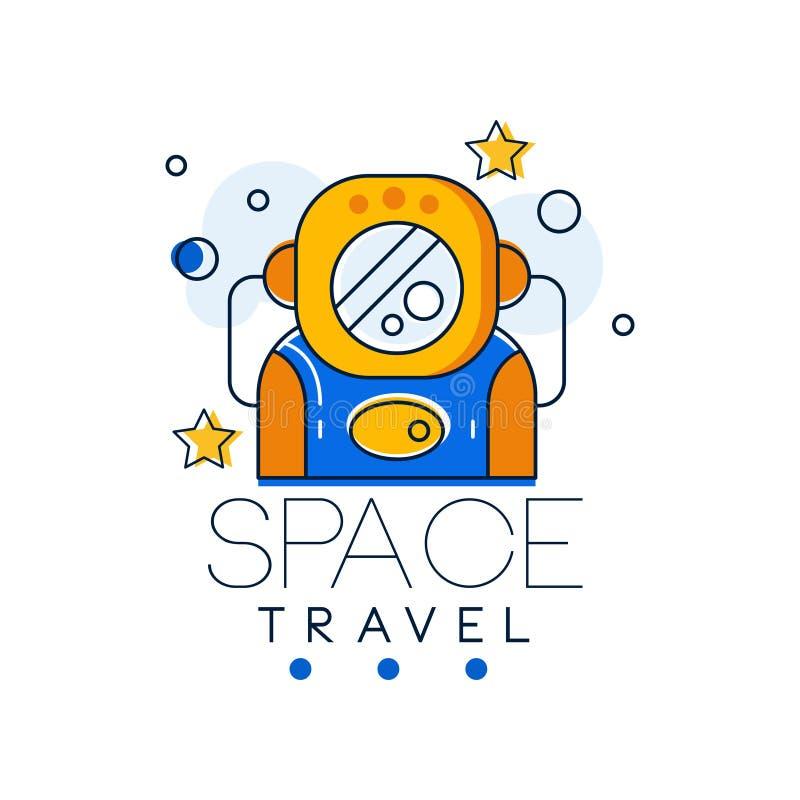 Le calibre, la mission spatiale et l'exploration de conception de logo de voyage dans l'espace marquent l'illustration de vecteur illustration libre de droits