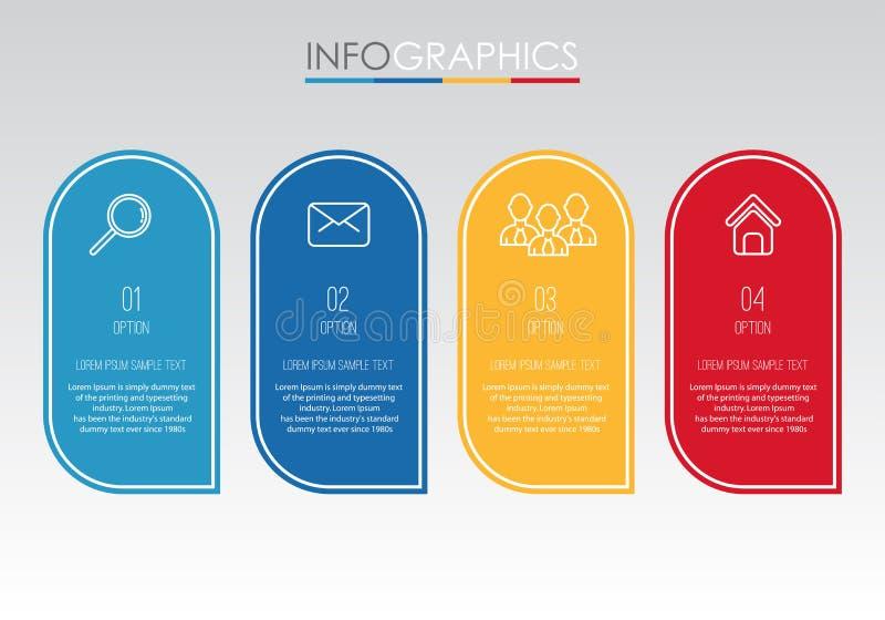 Le calibre moderne d'Information-graphique pour des affaires avec quatre étapes conception multicolore, labels conçoivent, élémen illustration libre de droits