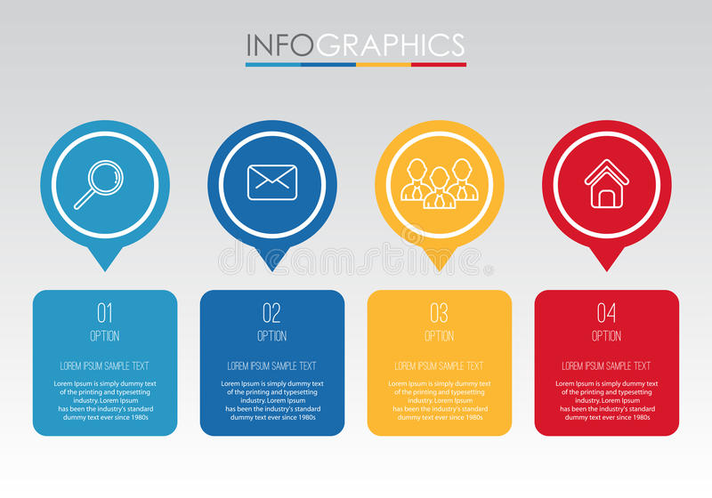 Le calibre moderne d'Information-graphique pour des affaires avec quatre étapes conception multicolore, labels conçoivent, élémen illustration de vecteur