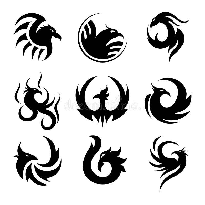 Le calibre noir de tatouage de Phoenix a isolé des illustrations réglées illustration stock