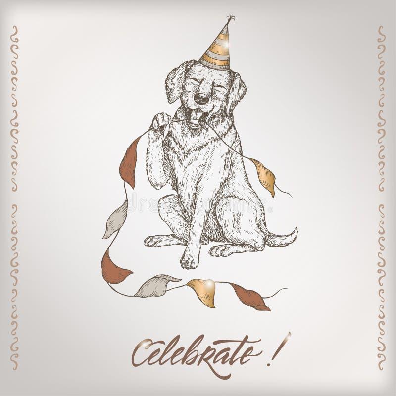 Le calibre romantique de carte d'anniversaire de vintage avec la calligraphie, le chien et la partie marque le croquis illustration libre de droits