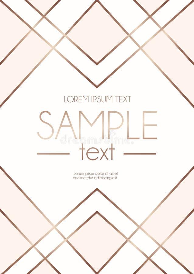 Le calibre rose géométrique de conception d'or avec rougissent ab rose et blanc image libre de droits