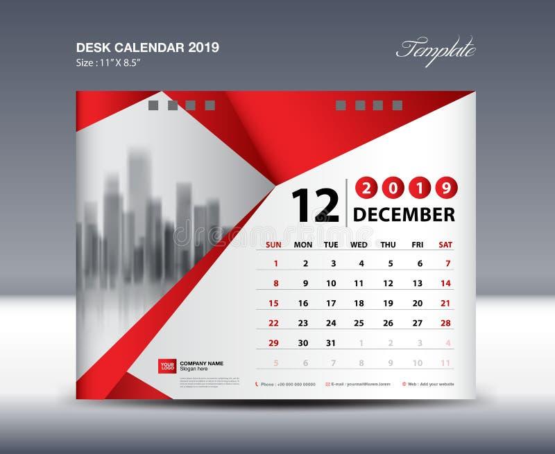 Le calibre 2019, semaine de calendrier de bureau de DÉCEMBRE commence dimanche, conception de papeterie, vecteur de conception d' illustration de vecteur
