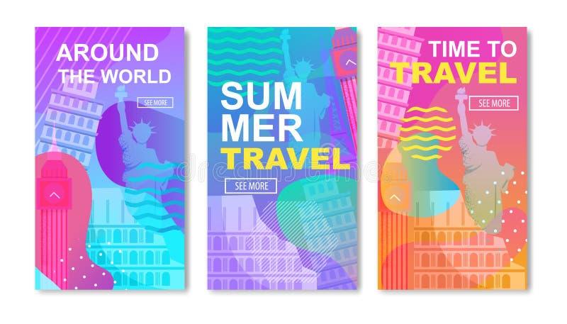 Le calibre social de médias a placé sur le thème de voyage du monde illustration de vecteur