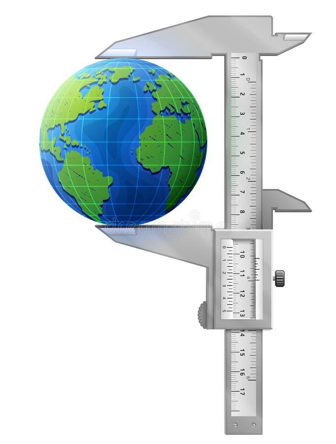 Le calibre vertical mesure le globe illustration libre de droits