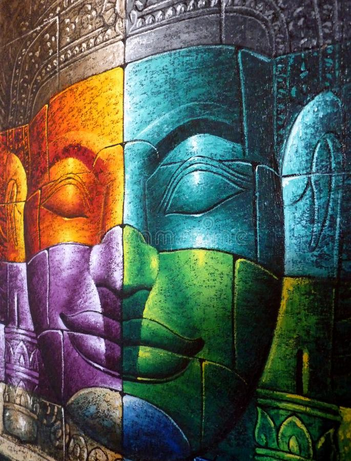 Le Cambodgien Bouddha font face illustration stock