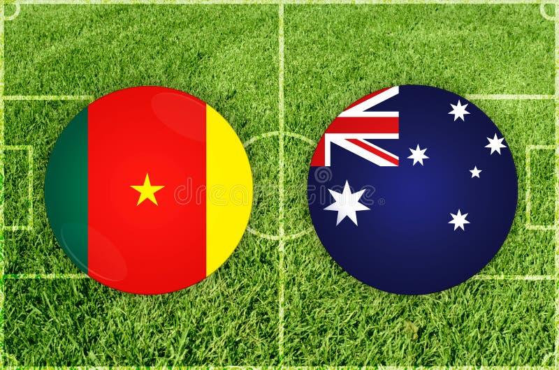 Le Cameroun contre le match de football d'Australie illustration de vecteur