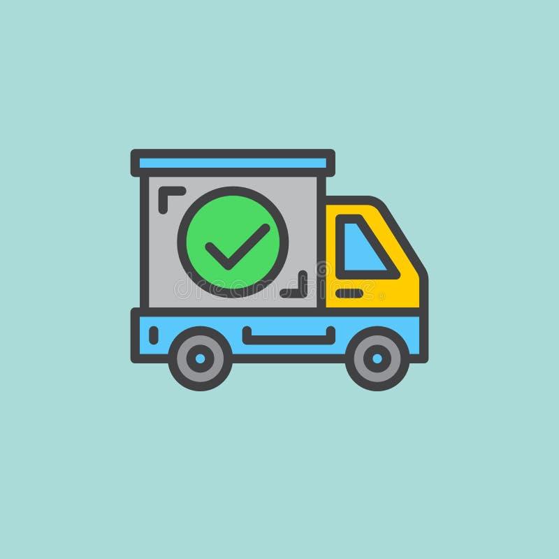 Le camion d'expédition avec le coche a rempli icône d'ensemble, ligne signe de vecteur, pictogramme coloré plat Symbole, illustra illustration stock
