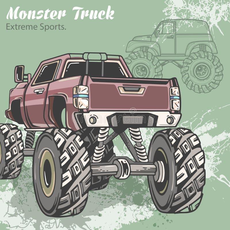 Le camion de monstre sur le fond de sport avec éclabousse et croquis Rétro illustration de vecteur Sports extrêmes aventure illustration libre de droits