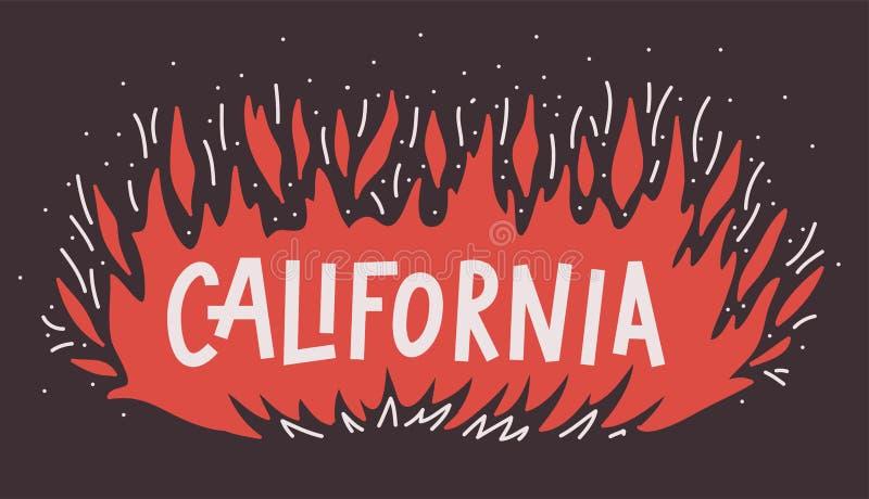 Le camp du feu de forêt de la Californie grille le concept Illustration de vecteur Le feu de flamme avec le lettrage de main des  illustration stock