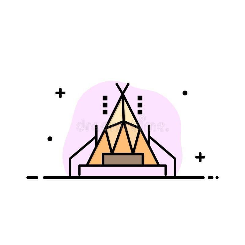 Le camp, tente, ligne plate d'affaires de camping a rempli calibre de bannière de vecteur d'icône illustration libre de droits