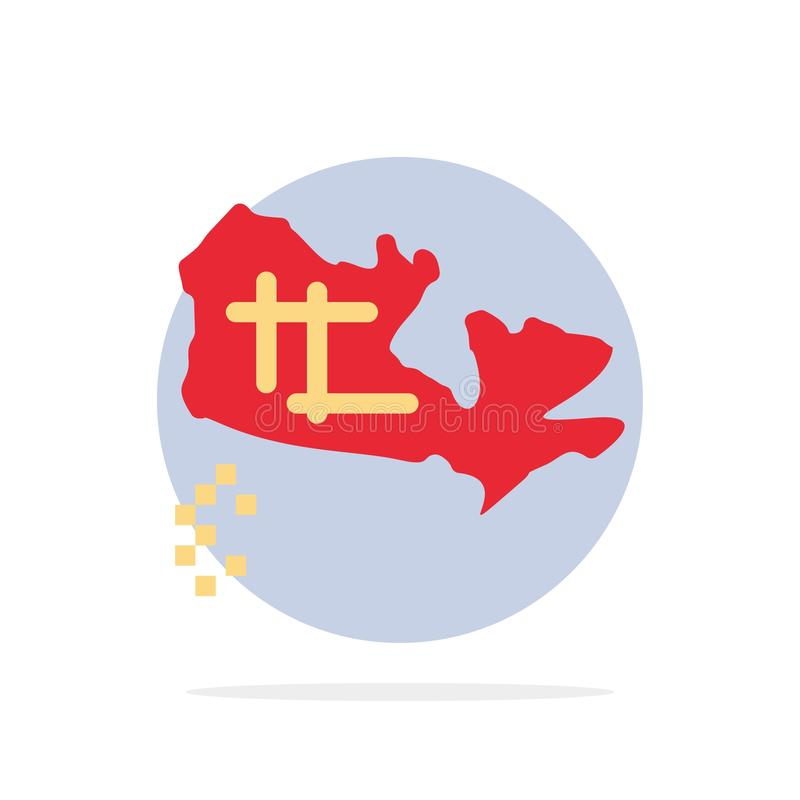 Le Canada, carte, icône plate de couleur de fond abstrait de cercle d'emplacement illustration stock