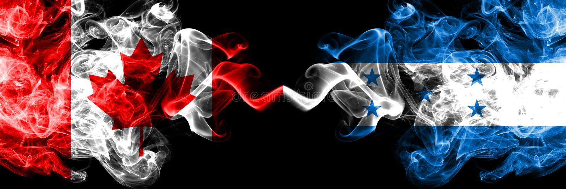 Le Canada contre le Honduras, drapeaux mystiques fumants honduriens placés côte à côte Drapeaux de fumée soyeux de couleur épaiss illustration de vecteur