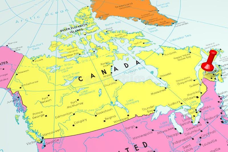 Le Canada, Québec - capitale, goupillée sur la carte politique illustration stock