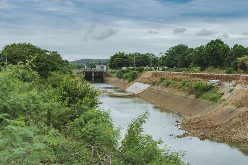 Le canal d'irrigation ou le canal d'irrigation dans le mur en béton envoient l'eau du réservoir à la zone agricole de l'agriculte photo stock