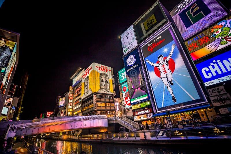 Le canal de Dotonbori dans le secteur de Namba d'Osaka images stock