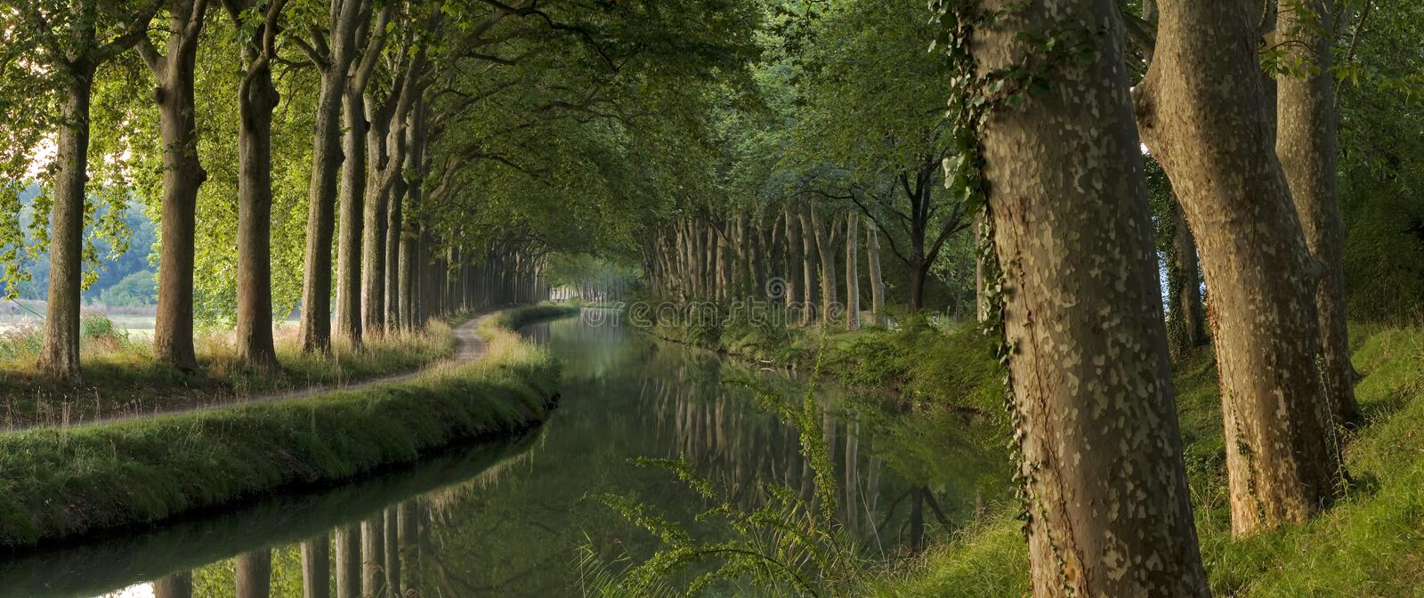 Le canal du Midi le matin (panorama) photo stock