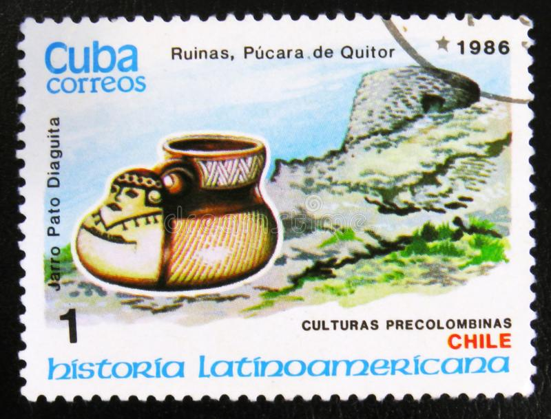 Le canard stiled la cruche Diaguita, ruines de ¡ de Quitor, culture de Pucarà du Chili, vers 1986 photo libre de droits
