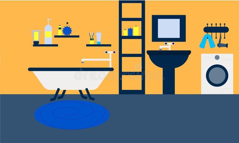 Le candele interne degli strumenti di lavaggio di progettazione della casa della stanza del bagno si rilassano il bagno immagine stock