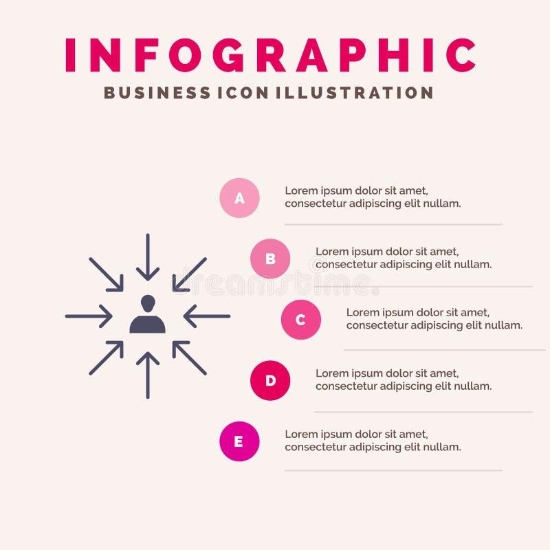 Le candidat, choix, choisissent, se focalisent, fond solide de présentation d'étapes d'Infographics 5 d'icône de sélection illustration libre de droits