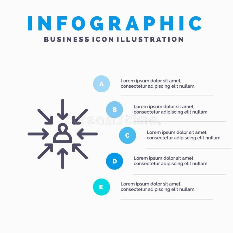 Le candidat, choix, choisissent, se focalisent, ligne de sélection icône avec le fond d'infographics de présentation de 5 étapes illustration stock