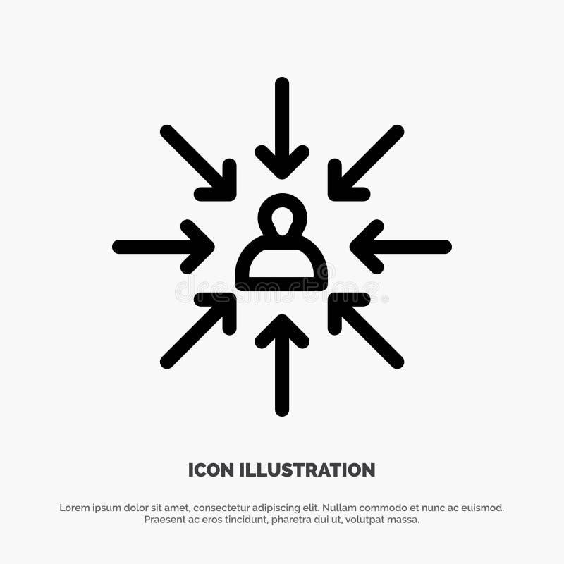 Le candidat, choix, choisissent, se focalisent, ligne de sélection vecteur d'icône illustration de vecteur