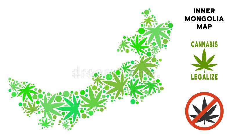 Le cannabis gratuit de redevance part de la carte de l'Inner Mongolia de Chinois de mosaïque illustration stock