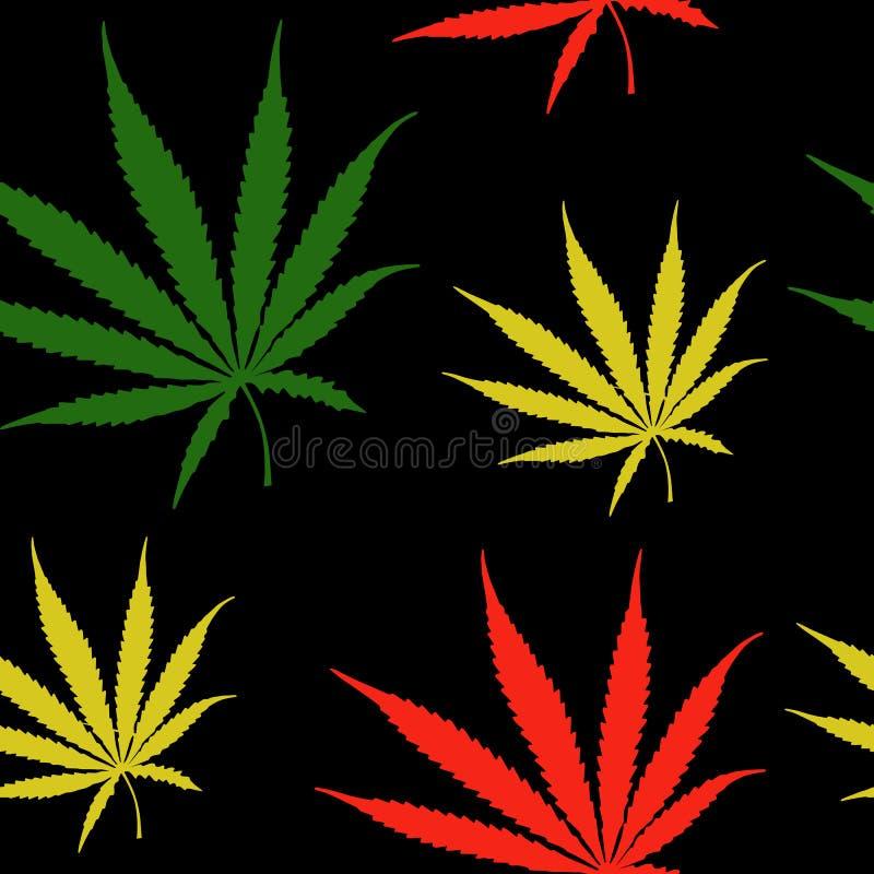 Le cannabis part du modèle sans couture, mauvaise herbe de chanvre laisse le modèle extérieur, fond de modèle de répétition de ma illustration libre de droits