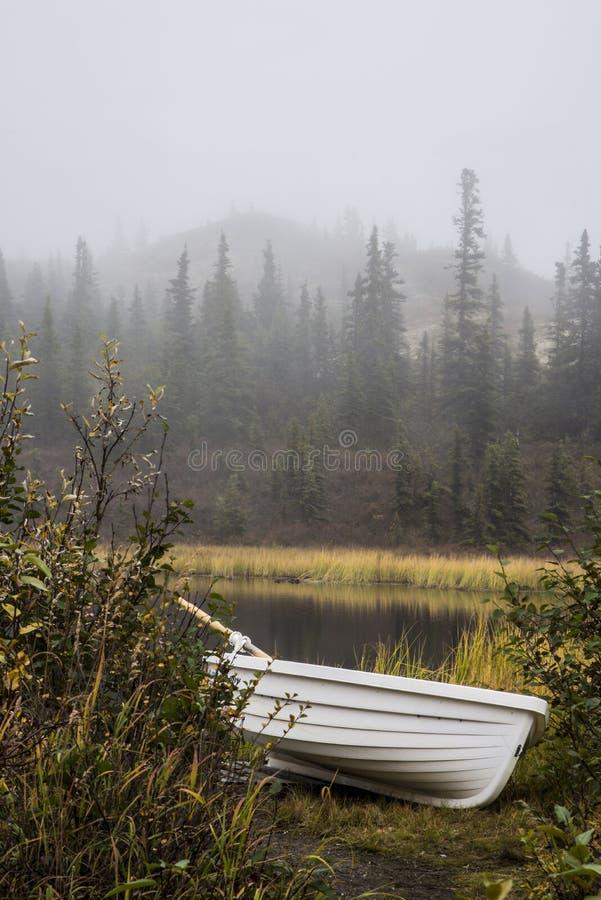 Le canoë s'étend près d'un étang un jour brumeux en parc national de Denali photographie stock