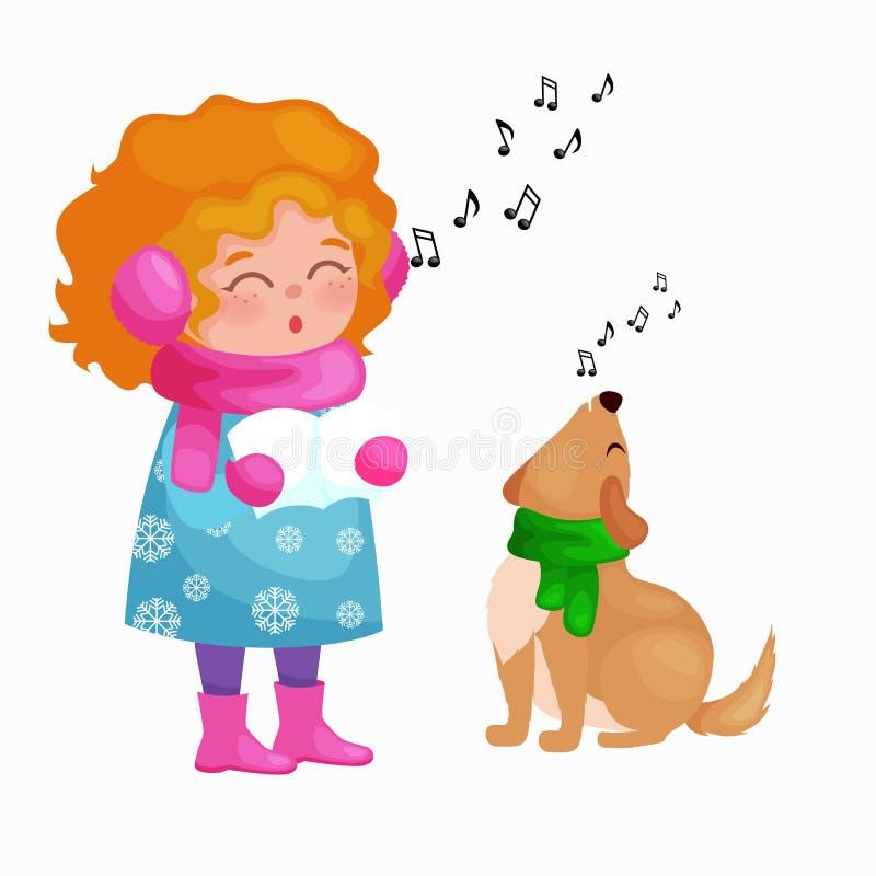 Le canzoni di natale di canto del cane e della ragazza e la musica delle campane di tintinnio su divertimento di vacanza invernal illustrazione vettoriale