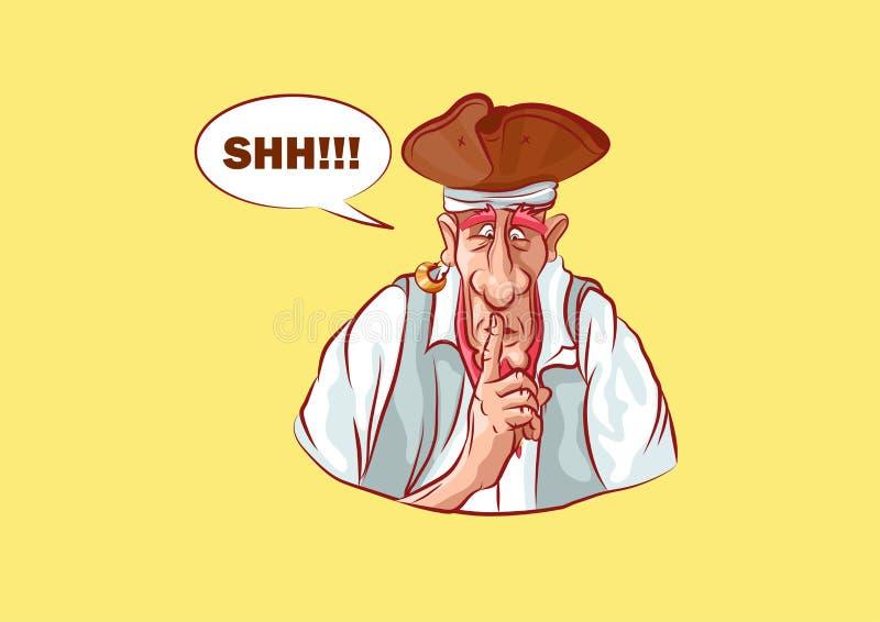 Le capitaine d'autocollant d'Emoji a mis son index aux lèvres illustration libre de droits