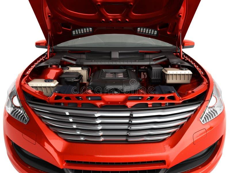 Le capot ouvert d'une voiture avec la vue du moteur 3d rendent sur le blanc illustration stock