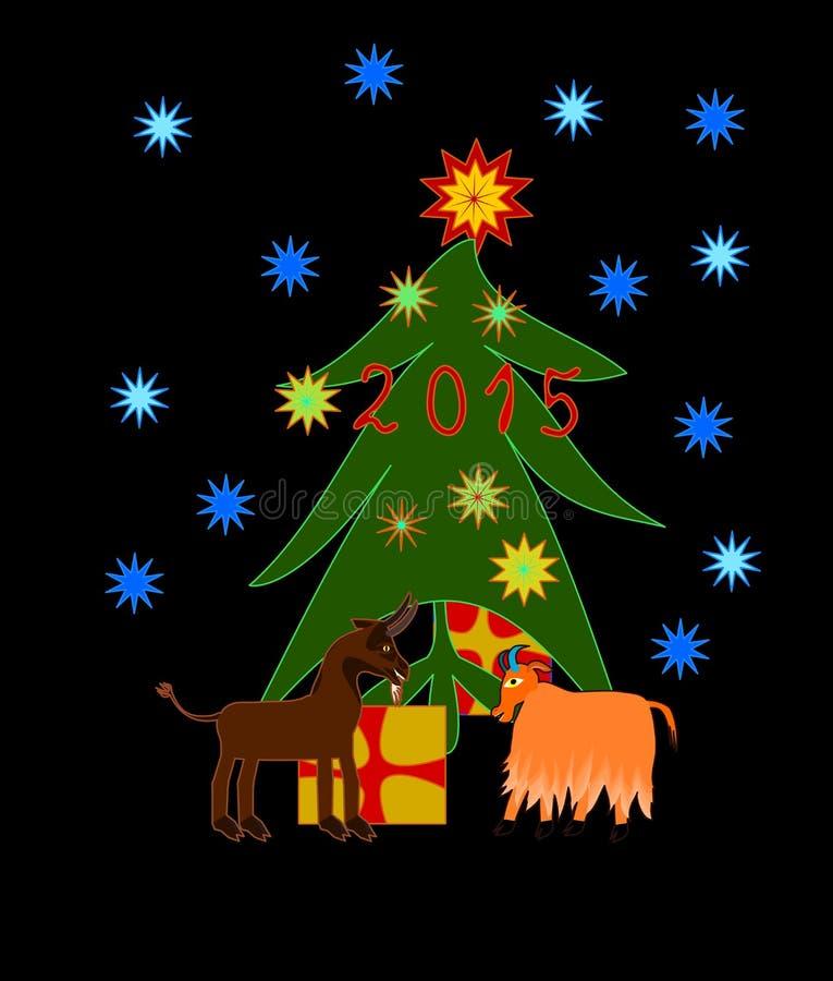 Le capre celebra il Natale ed il nuovo anno illustrazione vettoriale
