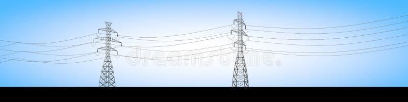 Le capriate elettriche e la corrente elettrica cabla, distribuzione dell'elettricità royalty illustrazione gratis