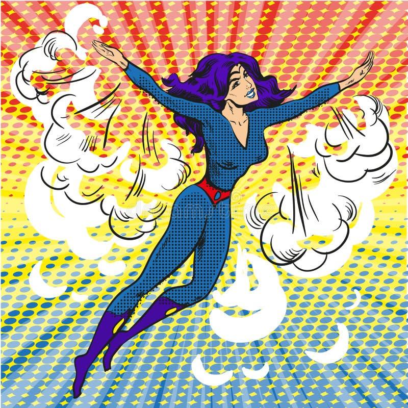 Le caractère comique de superwoman d'art de bruit en nuages et soleil rayonne illustration libre de droits