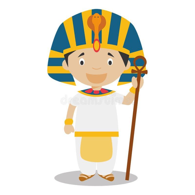 Le caractère d'Egypte s'est habillé de la manière traditionnelle en tant que pharaon de l'Egypte antique illustration de vecteur