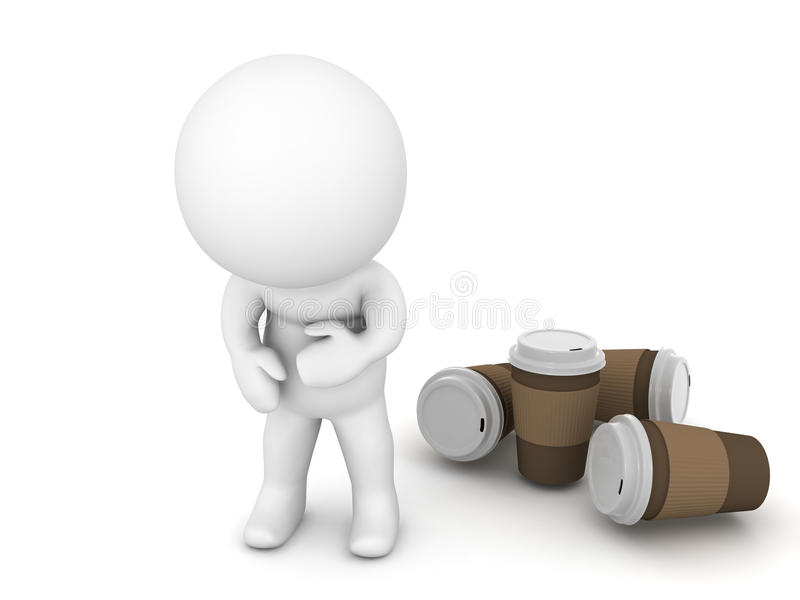 le caractère 3D est en difficulté de boire de trop de café illustration libre de droits