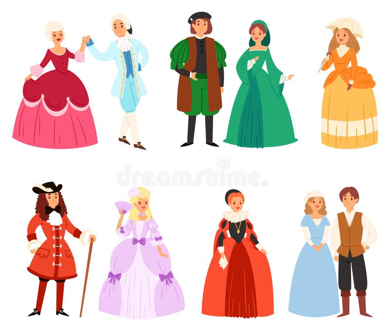 Le caractère d'homme de femme de vecteur d'habillement de la Renaissance dans le cru médiéval de mode habillent l'illustration ro illustration libre de droits