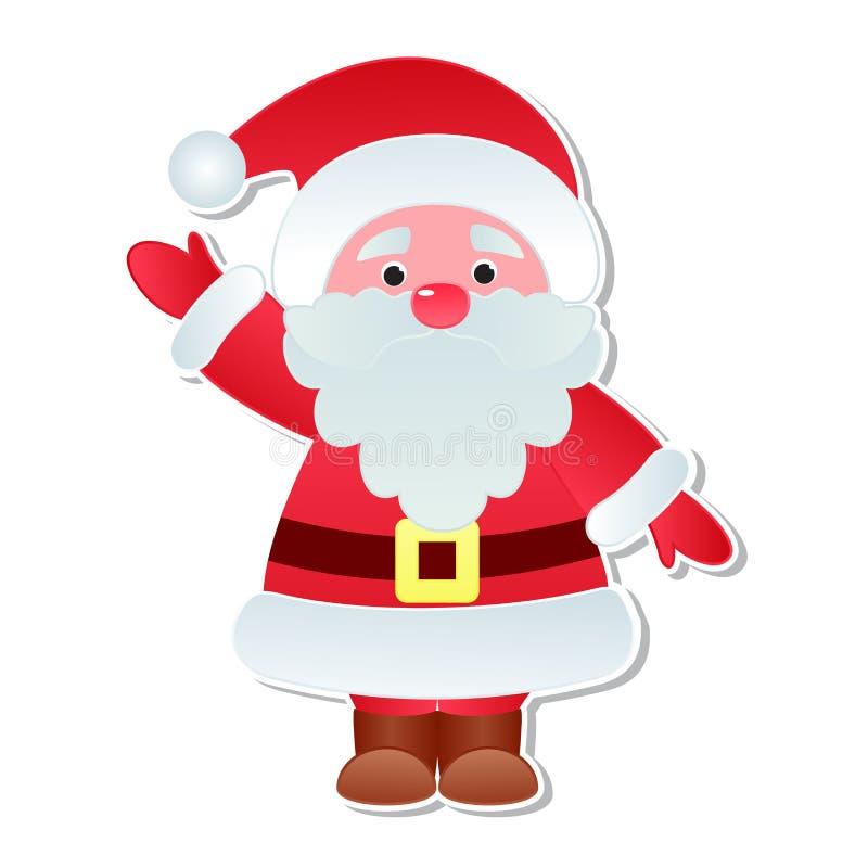 Le caractère d'icônes de vecteur de Santa Claus de Noël pose l'illustration mignonne de chapeau de Santa de costume traditionnel  illustration de vecteur
